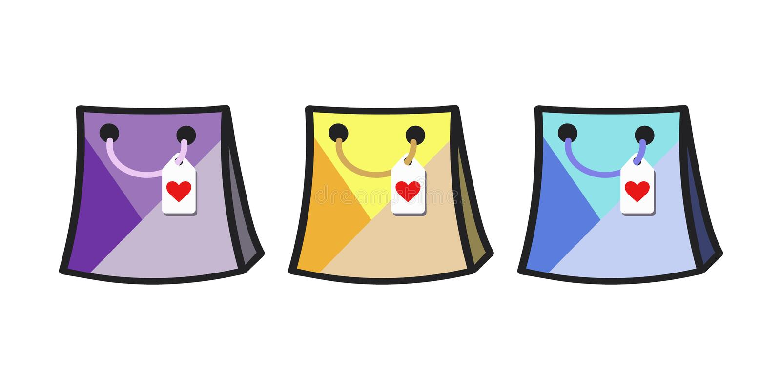 Gift bag icon set with heart tags. Flat vector in purples, yellows and blues. vector illustration