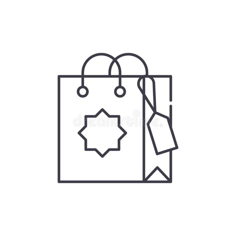 Gift bag line icon concept. Gift bag vector linear illustration, symbol, sign vector illustration