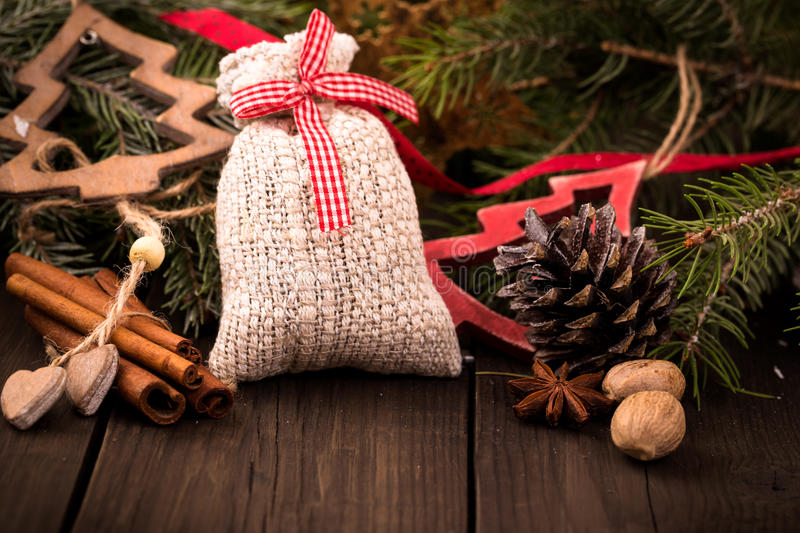 Gift bag and other christmas decorations stock image