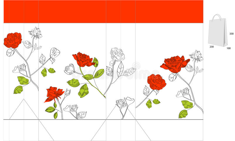 Gift Bag With Red Roses Stock Image