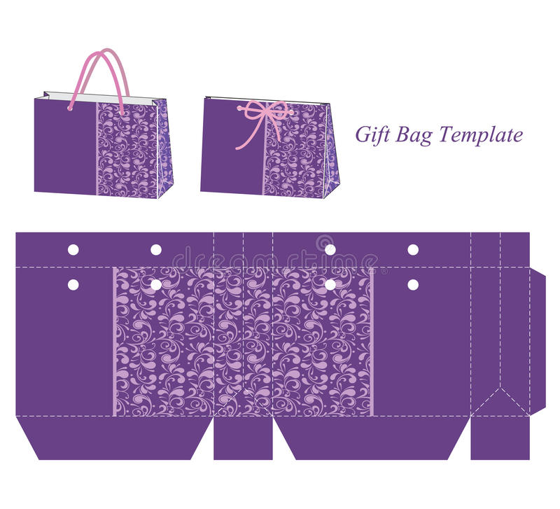 Gift Bag Template With Purple Floral Pattern Stock Vector ...