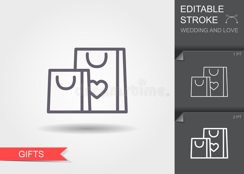 Gift bags with heart. Line icon with shadow and editable stroke vector illustration