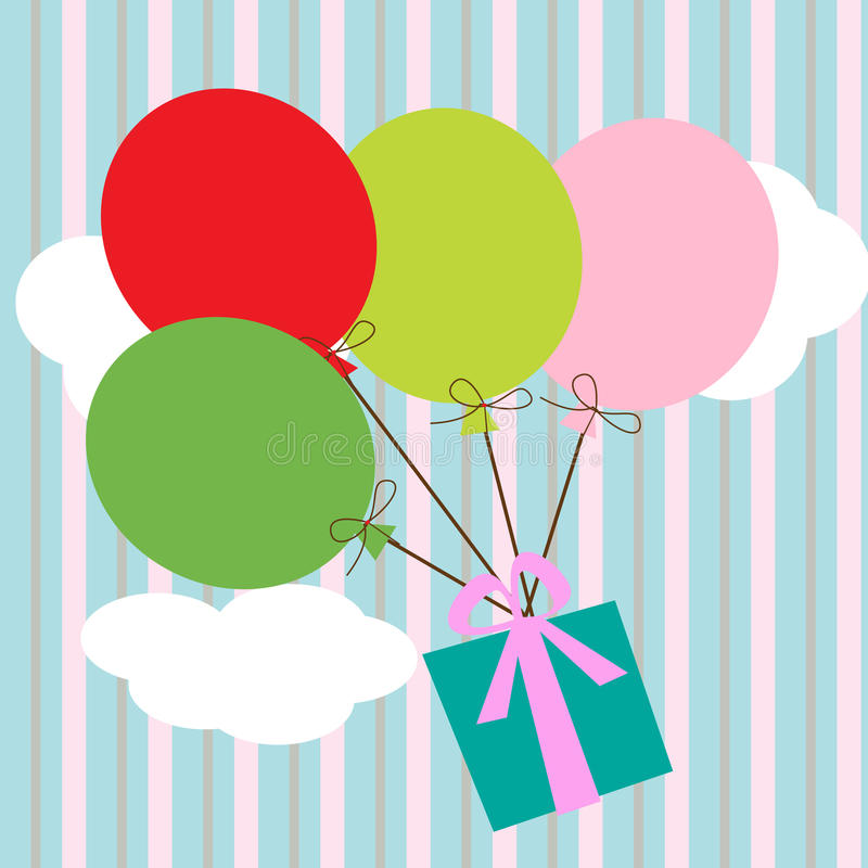 Gift with balloons vector illustration