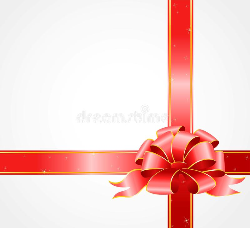 Gift with a big color bow stock illustration