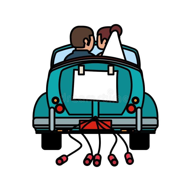 gift bil för par precis vektor illustrationer