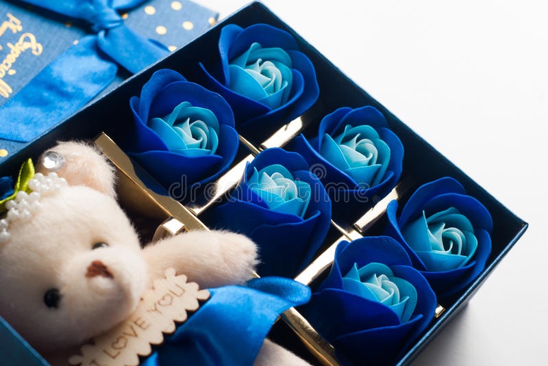 The gift in the blue box with lid royalty free stock photos