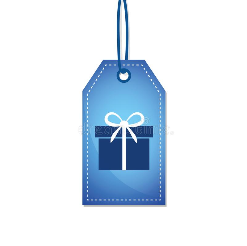 Gift on a blue shopping label royalty free illustration