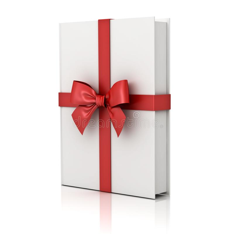 Gift book , blank book with red ribbon and bow isolated on white background stock illustration