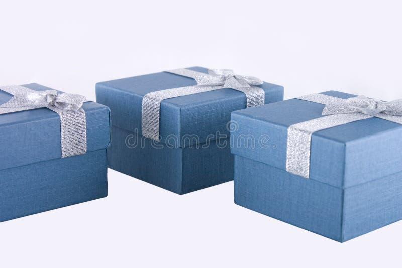 Gift Box. Three blue gift box on white background stock photography