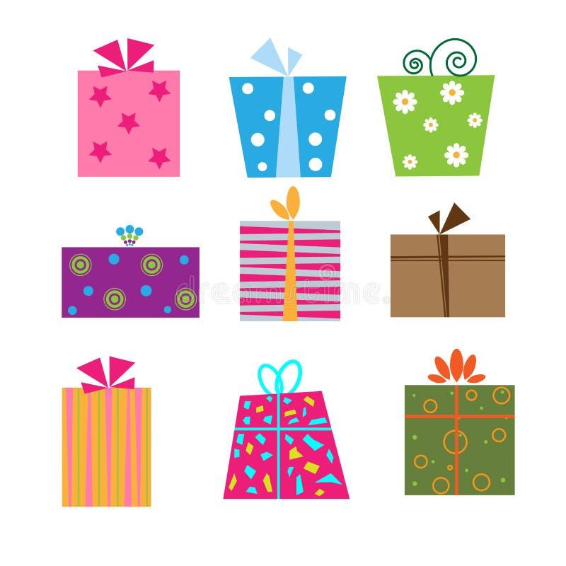 Gift box. Set of nine cute gift box isolated on white background.EPS file available
