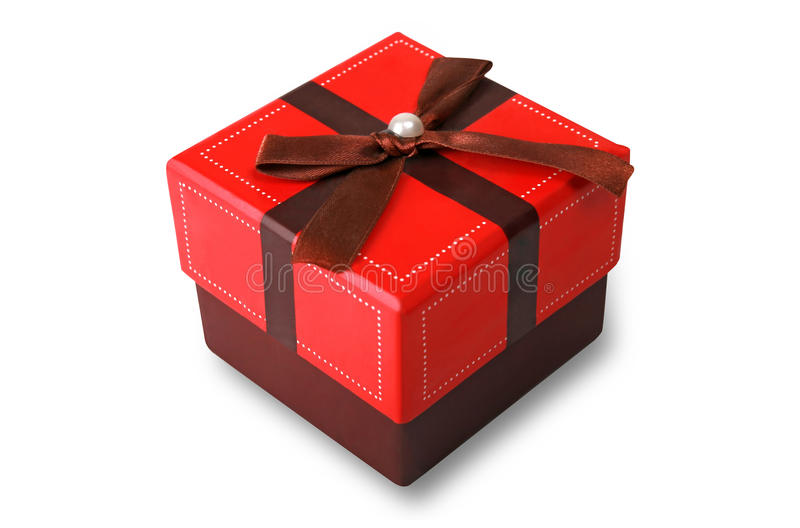 Gift box. Red gift box on white background. Isolated (with working path royalty free stock image
