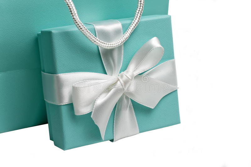 Gift box. With white bow and gift bag on white background stock photography