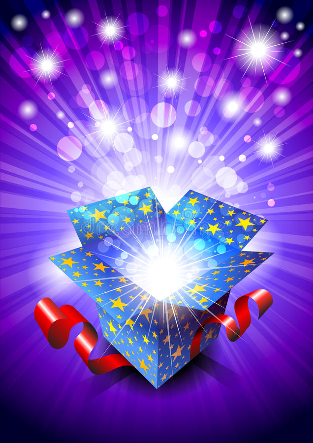 Gift Box. With a blue background with stars royalty free illustration