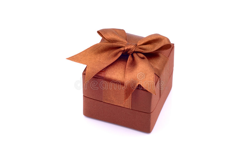 Gift Box. Orange Gift Box with a Ribbon on Top stock photo