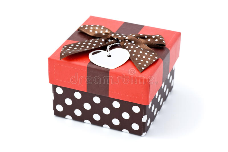 Gift box. With ribbon on white back ground royalty free stock photography