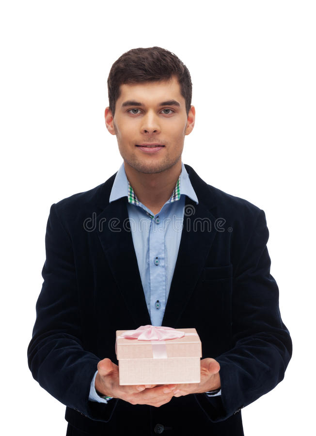 Gift box. Man with gift box on isolated white stock image