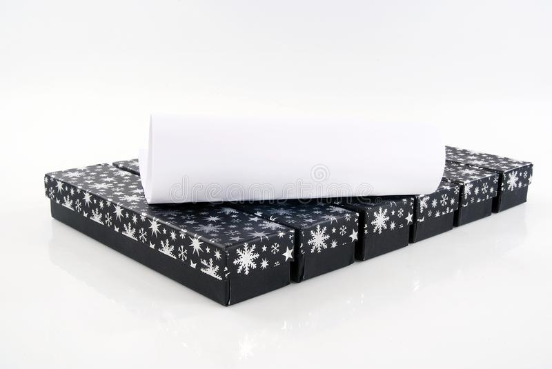 Gift Box. And voucher against white stock images