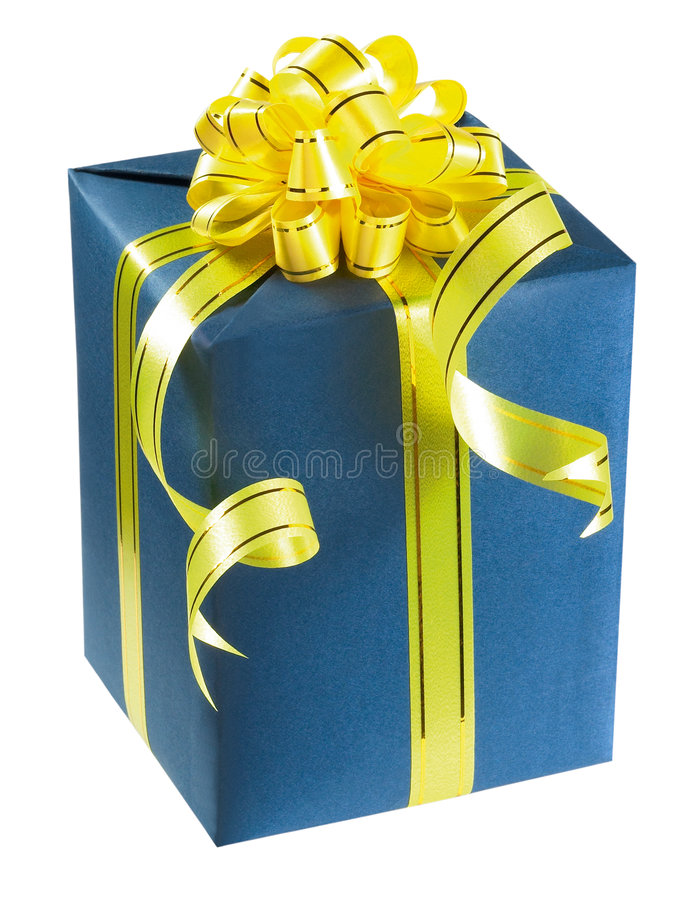 Gift box. With ribbon isolated on white background