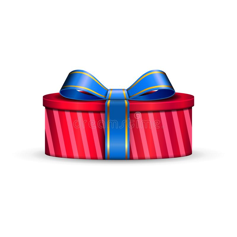 Free Gift Box 3d, Blue Ribbon Bow Isolated White Background. Decoration Present Red Gift-box For Happy Holiday, Birthday Royalty Free Stock Image - 129283096