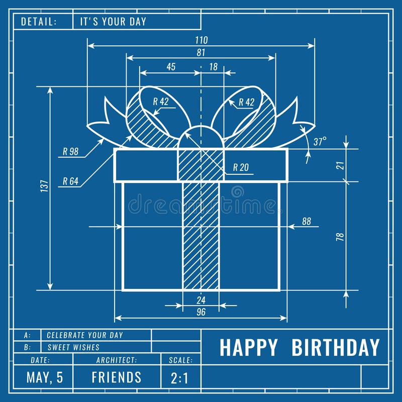 Gift box as technical blueprint drawing. Birthday technical concept. Mechanical engineering drawings. Greeting banner royalty free illustration