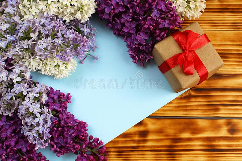 Gift wrapping is on spring background royalty free stock image