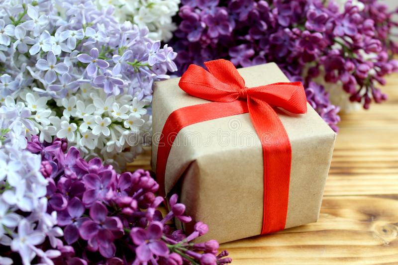 Gift wrapping is on spring background stock photography