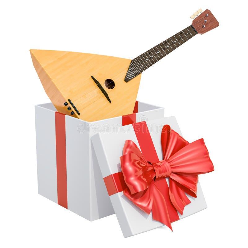 Gift box with balalaika, 3D rendering royalty free illustration