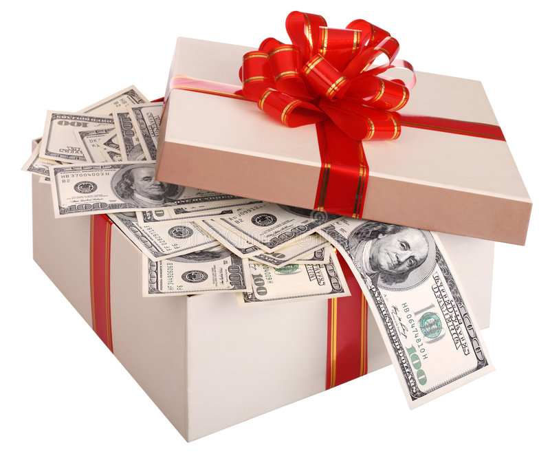 Gift box with banknote of dollar. stock photos