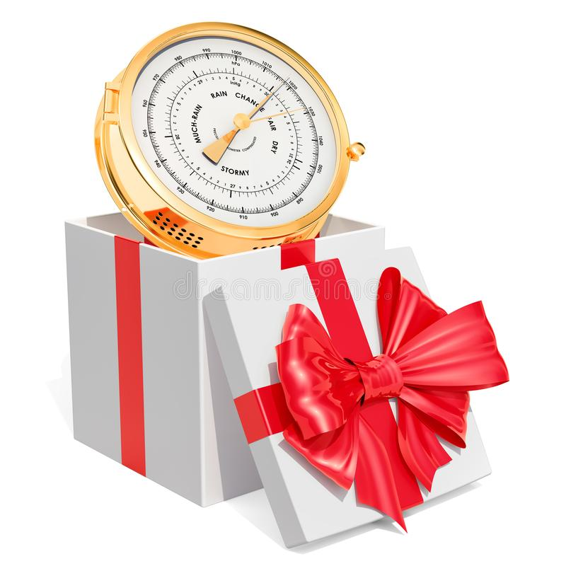 Gift box with barometer, 3D rendering. Isolated on white background stock illustration