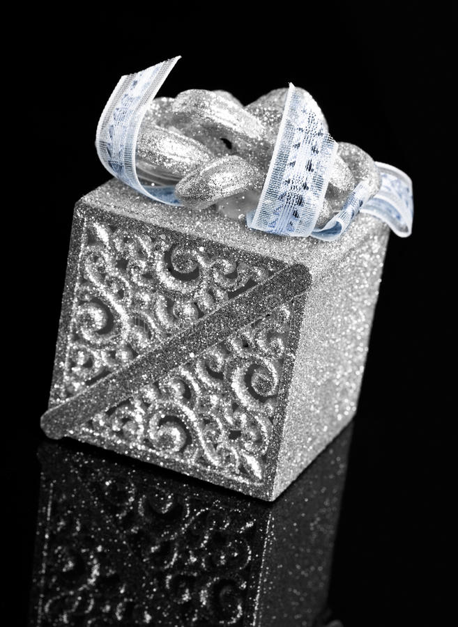 Gift Box On Black Stock Image