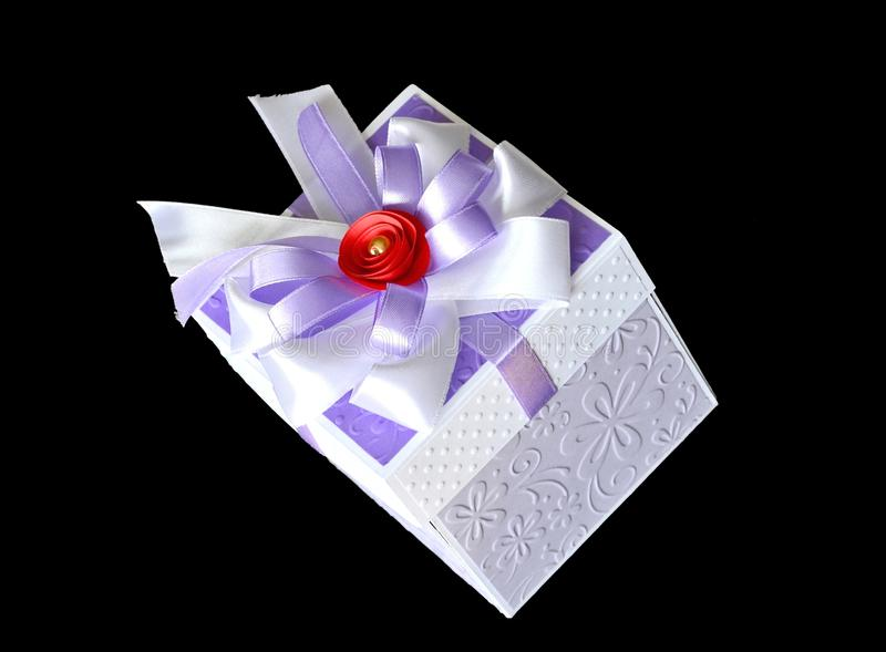 Gift box on black stock photography
