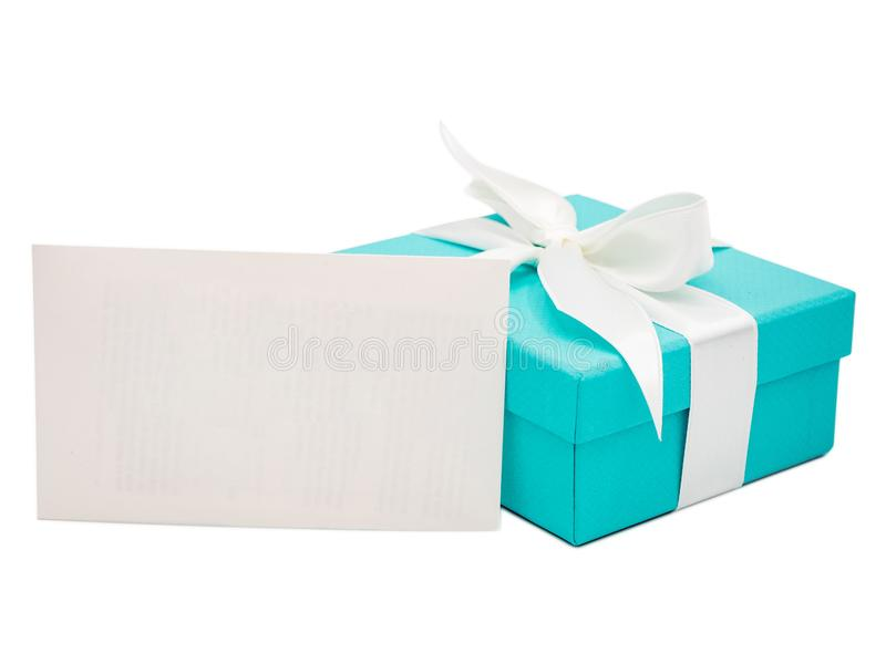 Gift box and blank envelope isolated on white background stock image