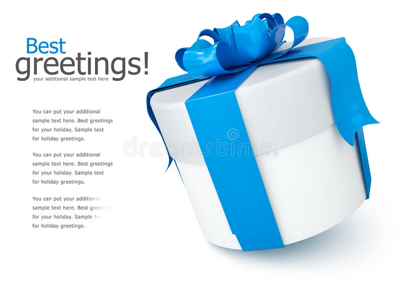 Gift box with blue bow royalty free illustration