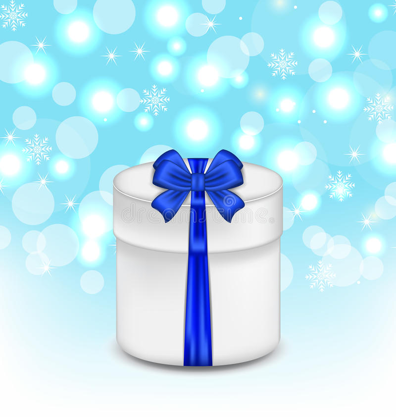Gift Box With Blue Bow On Glowing Background Royalty Free Stock Images