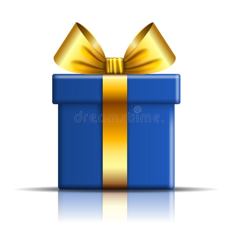 Free Gift Box Blue Icon. Open Surprise Present Template, Gold Ribbon Bow, Isolated White Background. 3D Decoration For Royalty Free Stock Images - 115499509