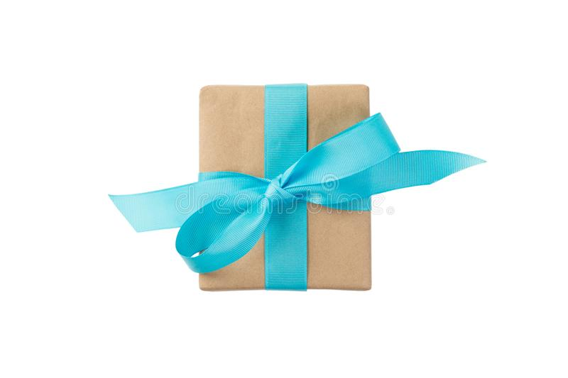Gift box with blue ribbon isolated on white background. holiday concept you you design. top view.  stock photography