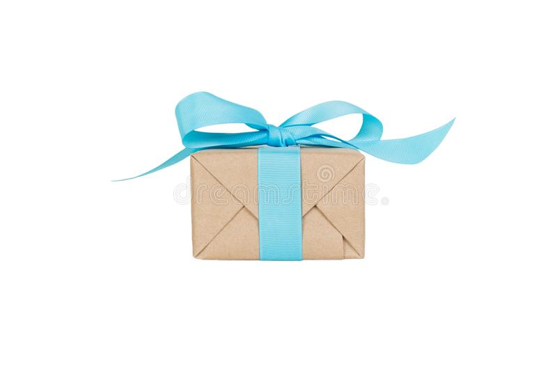 Gift box with blue ribbon isolated on white background. holiday concept you you design. front view stock images