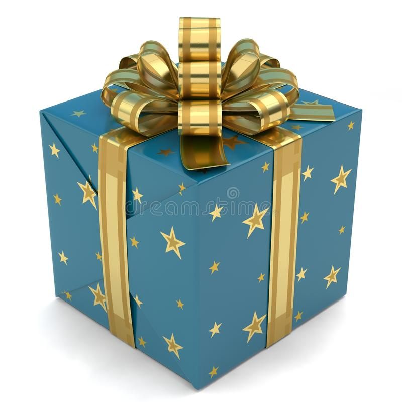 Gift Box blue with stars stock photo