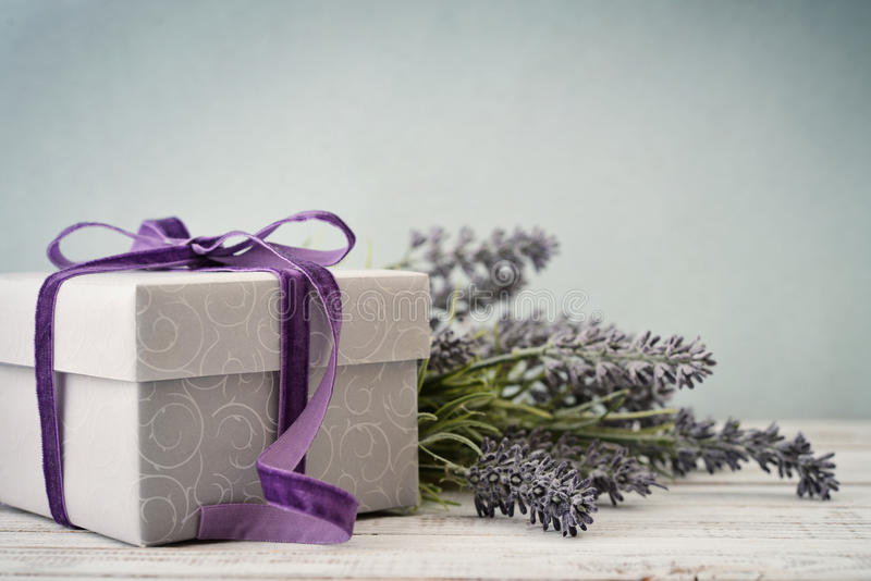 Gift box with bouquet of lavender stock image