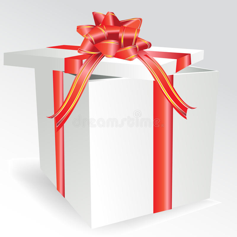 Gift box with bow vector illustration