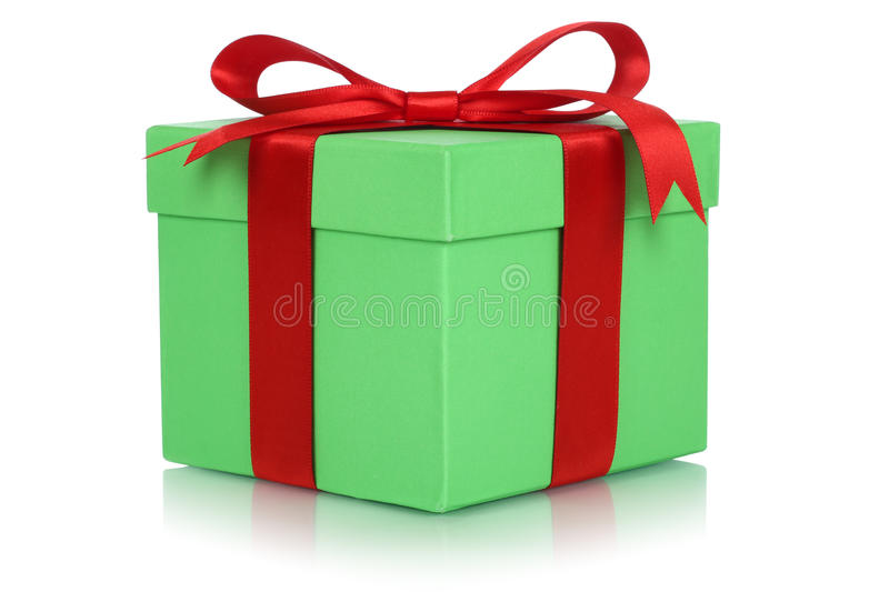 Gift box with bow for gifts on birthday or Valentines day. Isolated on a white background stock images