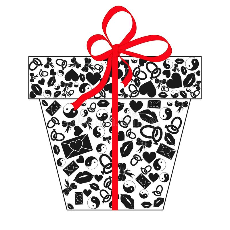 Gift box with bow made of black Valentines day icons hearts, lips, rings, envelopes, bows, Yin Yang isolated on white background. vector illustration
