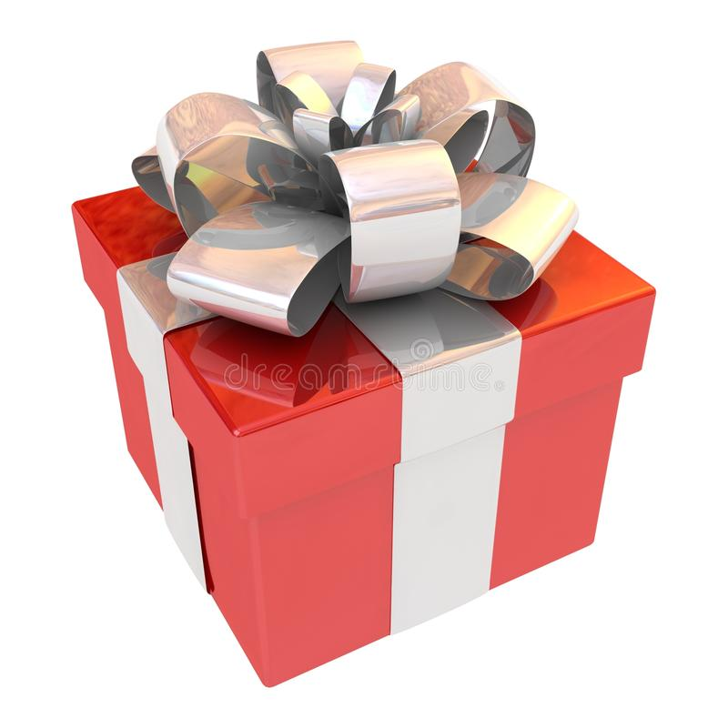Gift box with bow and ribbons. 3D vector illustration