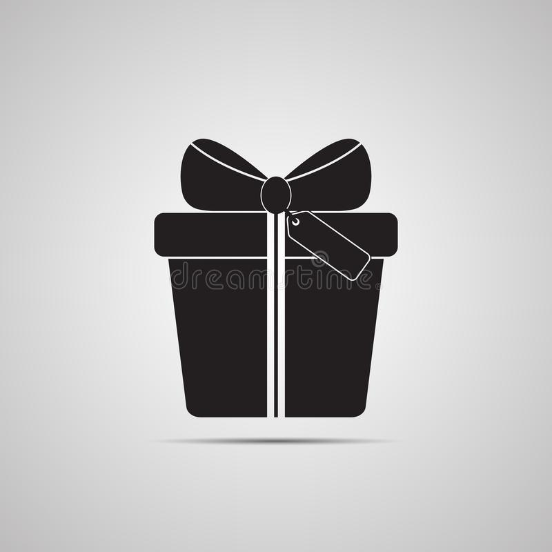 Gift box with bow, tape and tag for present, surprise and congratulation royalty free illustration