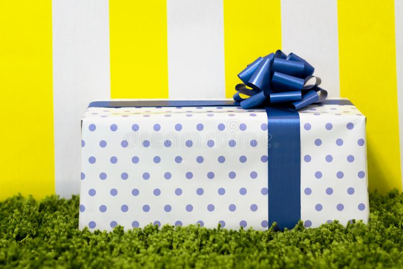 Gift Box on Bright Background. Copy Space stock photo