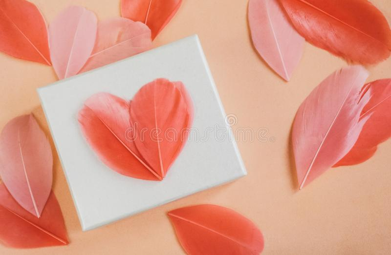 Gift box with bright feather heartsn stock photo