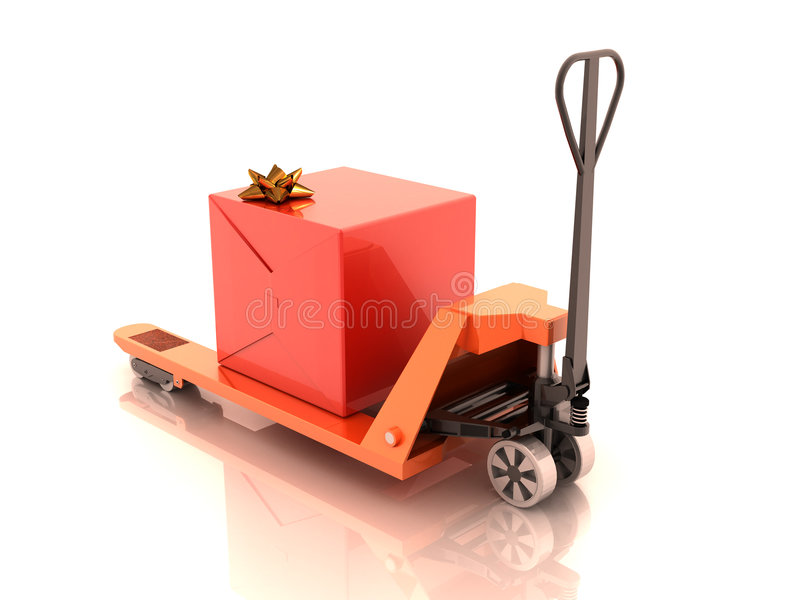 Gift Box On The Cart Royalty Free Stock Photos