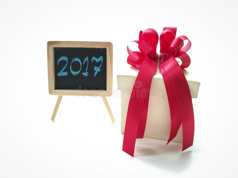 Gift box for celebrate new year 2017 royalty free stock images