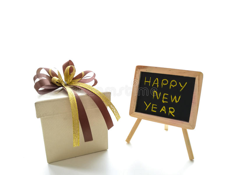 Gift box for celebrate New years stock photography