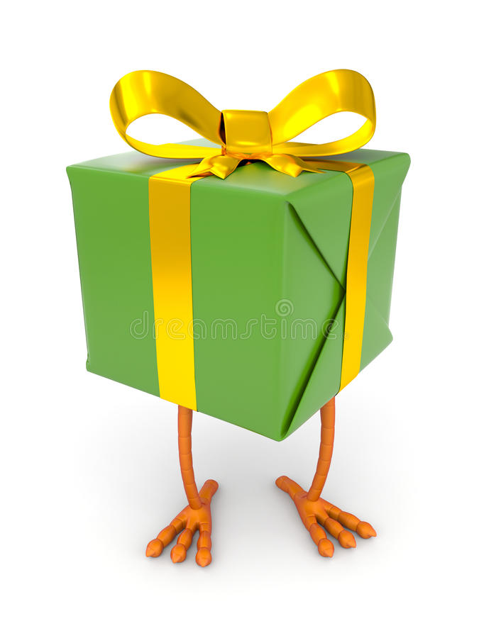 Gift box with chicken leg. Illustration for celebration and holidays stock illustration